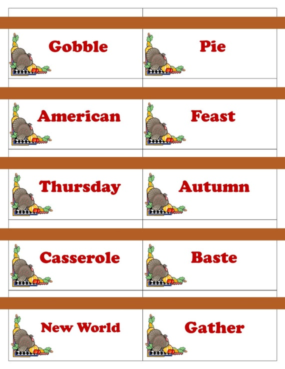 Printable Thanksgiving Game Cards For Pictionary Charades Etsy