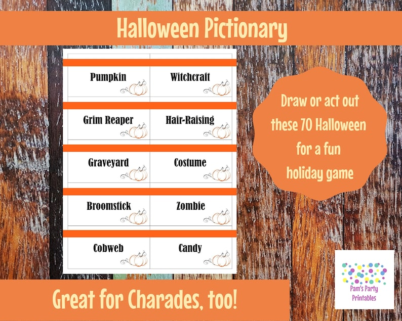 picture about Halloween Charades Printable known as Printable Halloween Activity Playing cards for Pictionary, Charades, Hangman and 20 Issues Instantaneous Down load