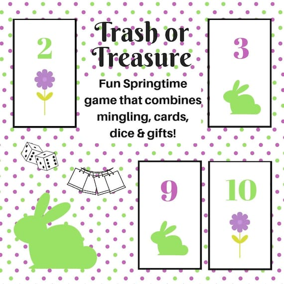 graphic relating to Dice Printable titled Springtime/Easter Trash or Treasure Printable Cube Card