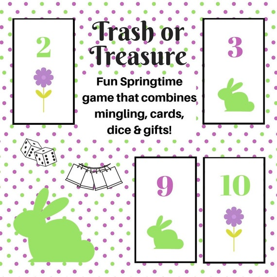 image about Dice Printable titled Springtime/Easter Trash or Treasure Printable Cube Card