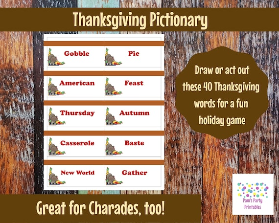 graphic about Printable Pictionary Cards named Printable Thanksgiving Activity Playing cards for Pictionary, Charades