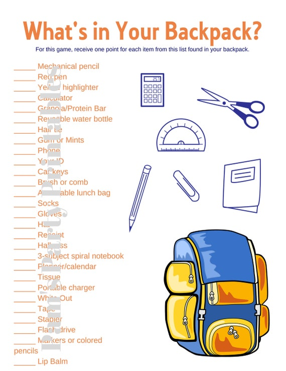 photograph relating to Classroom Scavenger Hunt Printable titled Whats within just Your Backpack - Clroom match - Icebreaker