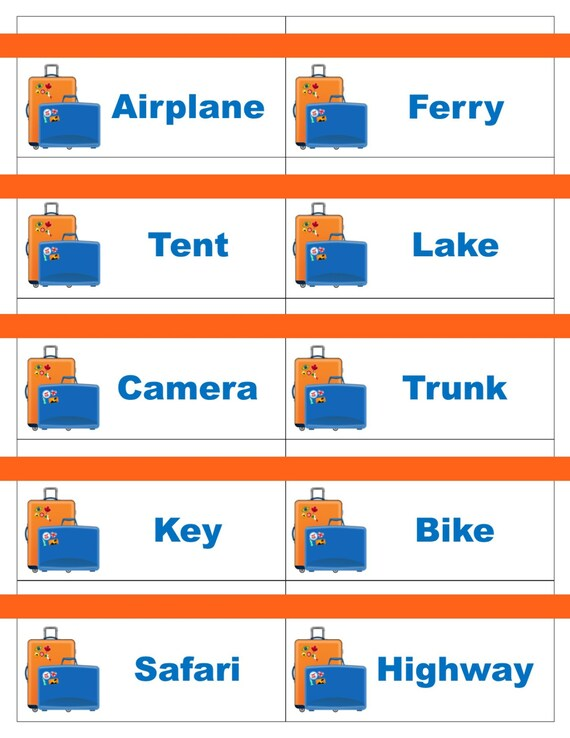 Printable Travel Road Trip Game Cards For Pictionary Or Etsy