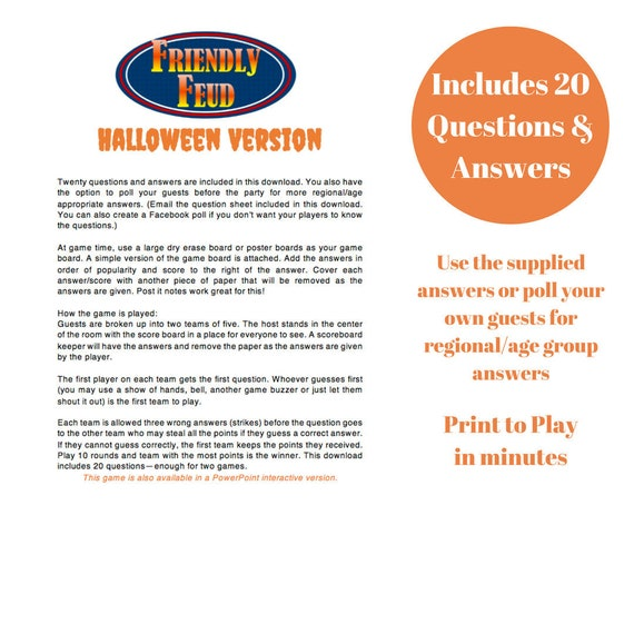 Halloween Friendly Feud 20 Questions and Answers , Printable Game ,  Halloween Party Game , Instant Download