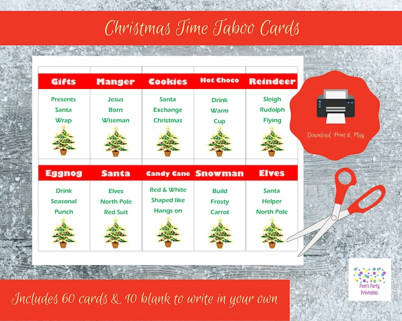 Christmas Party Icebreaker Questions.Printable Christmas Game Cards For Taboo Group Game Family Game All Ages Instant Download