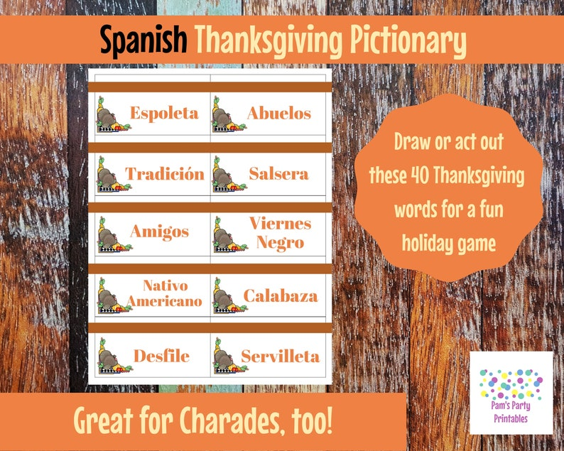 image relating to Printable Pictionary Cards referred to as Spanish Printable Thanksgiving Recreation Playing cards for Pictionary, Charades, Hangman and 20 Concerns Español clroom, relatives activity