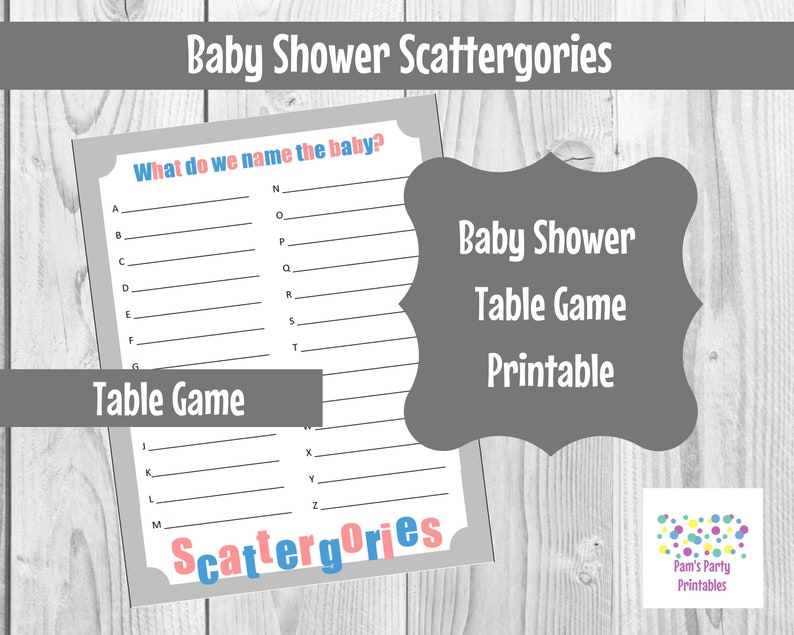 Baby Shower What do we Name the Baby Scattergories Printable image 0