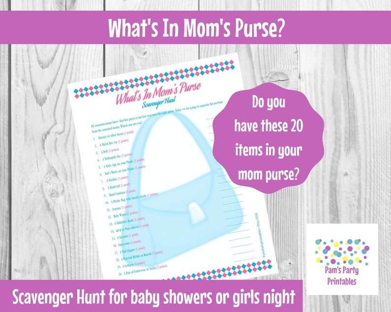 Baby Shower Game What's in Your Purse Scavenger Hunt  image 0