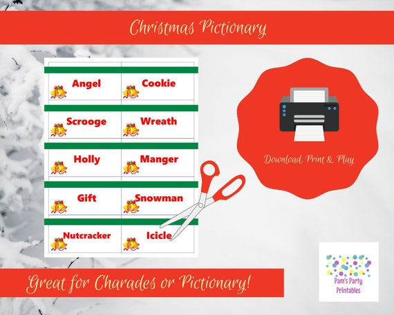 Christmas Pictionary.Printable Christmas Game Cards For Pictionary Or Charades Hangman Or 20 Questions Instant Download