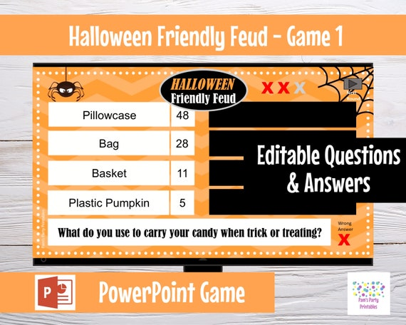Halloween Friendly Feud GAME ONE, Editable game