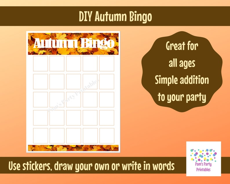 image relating to Addition Bingo Printable called Blank Autumn Tumble Thanksgiving Bingo Printable for Do-it-yourself Sticker Bingo Match, Clroom Bash Sport, Youth Local community, Lady Scouts, Preschool