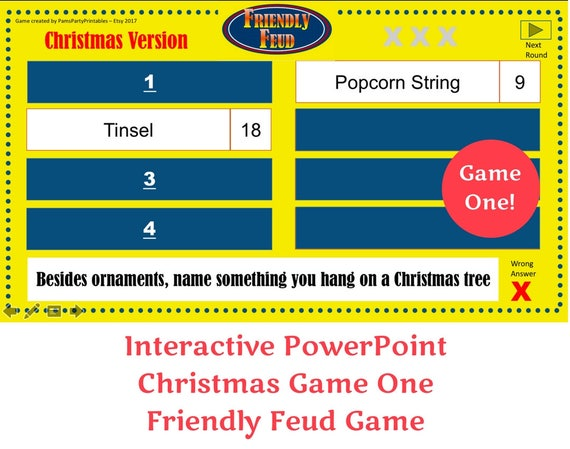 Christmas Friendly Feud Game One Interactive Powerpoint Game