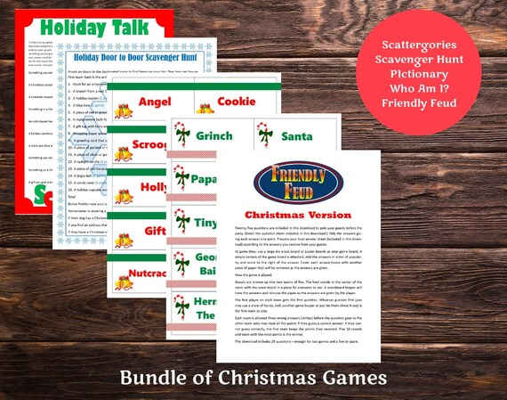 Christmas Printable Games Bundle Lot Of 5 Friendly Feud