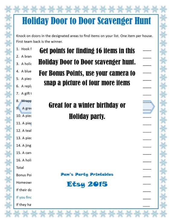 holiday door to door scavenger hunt christmas game printable