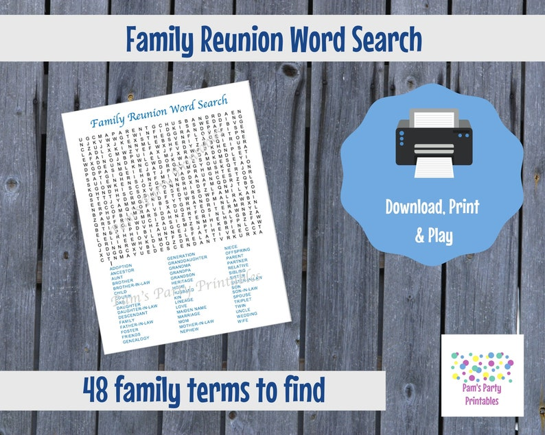 Family Reunion Word Search  Family Reunion Game  Table Game image 0