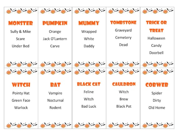 Printable Halloween Taboo Game Cards Instant Download For Your Etsy