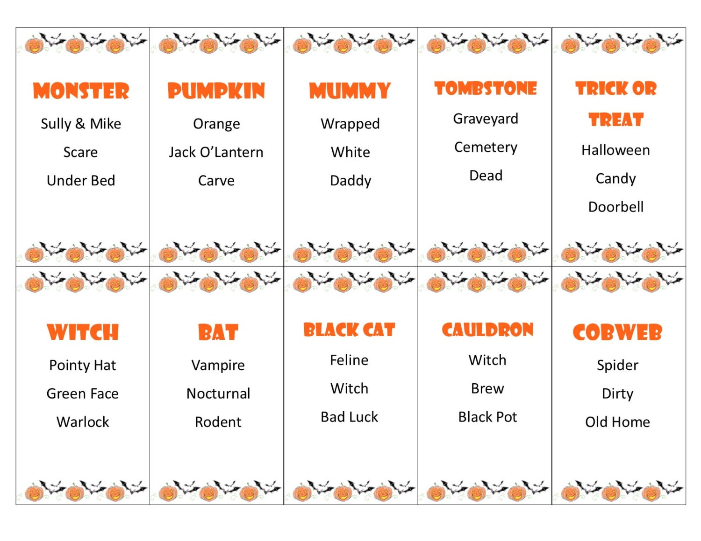 Druckbare Halloween Tabu Spiel Karten INSTANT DOWNLOAD für   Etsy