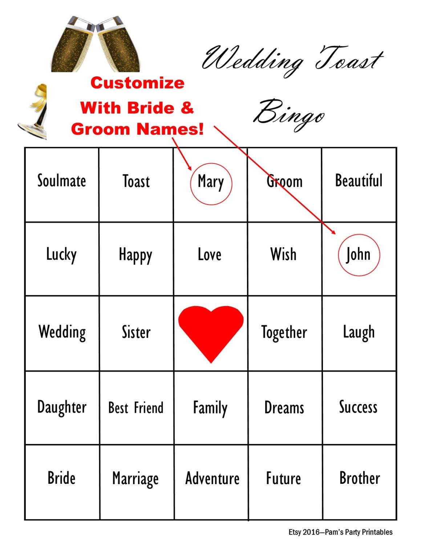 INDIVIDUELLE Hochzeit Tag Toast Bingo Spiel Trauzeugin   Etsy