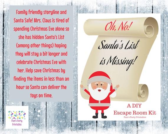 Escape Santa Obby Roblox Christmas Christmas Ornaments Oh No Santa S List Is Missing A Diy Escape Room Kit Etsy
