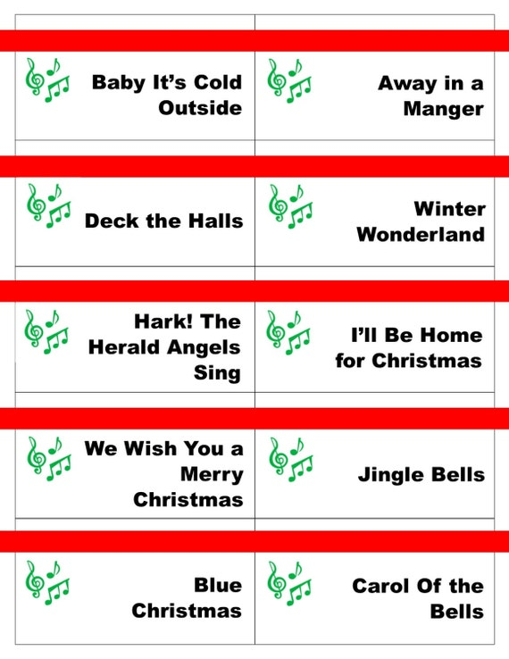 Printable Christmas Carol Game Cards For Pictionary Or Etsy