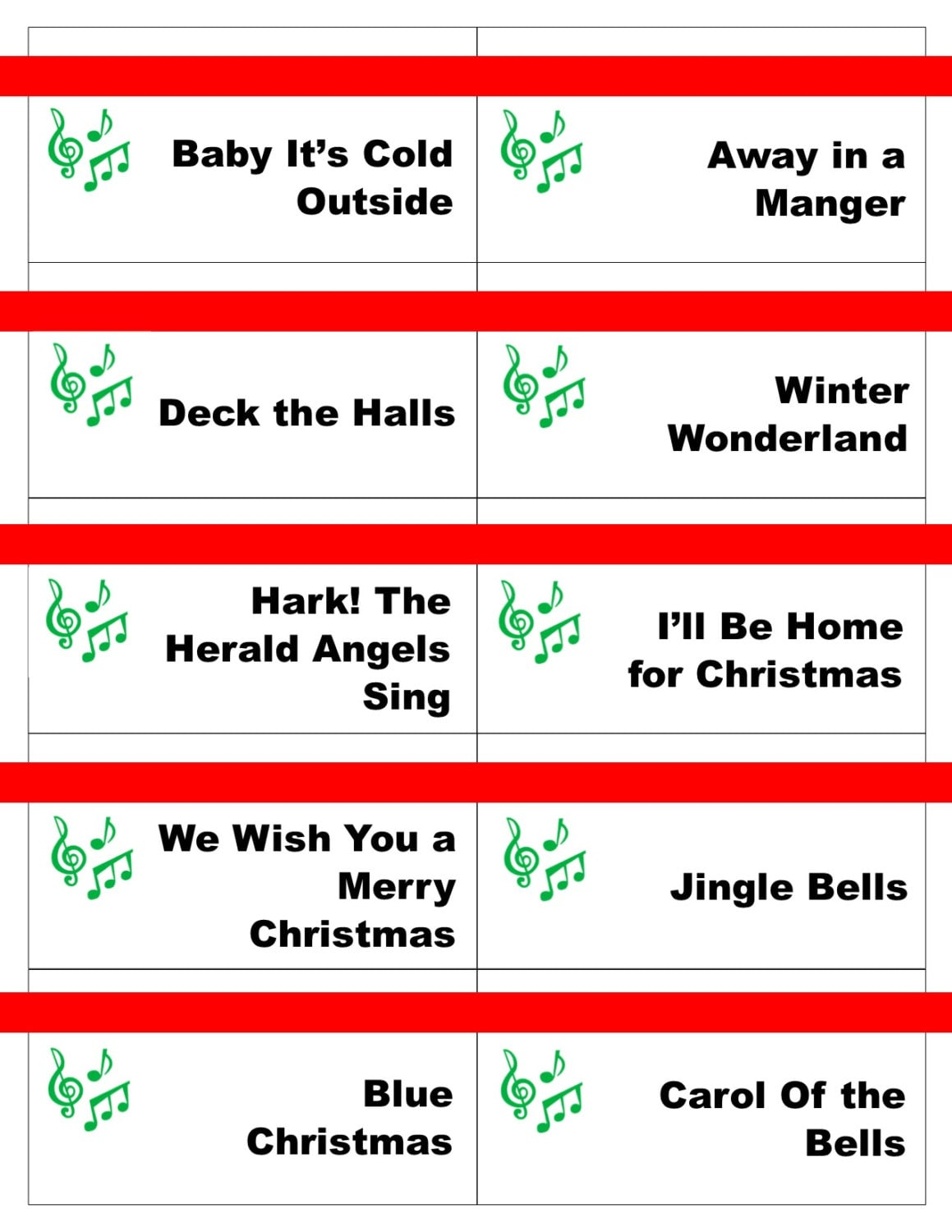 Printable Christmas Carol Game Cards for Pictionary or | Etsy