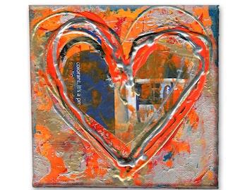 512 heart artwork original art small painted canvas etsy