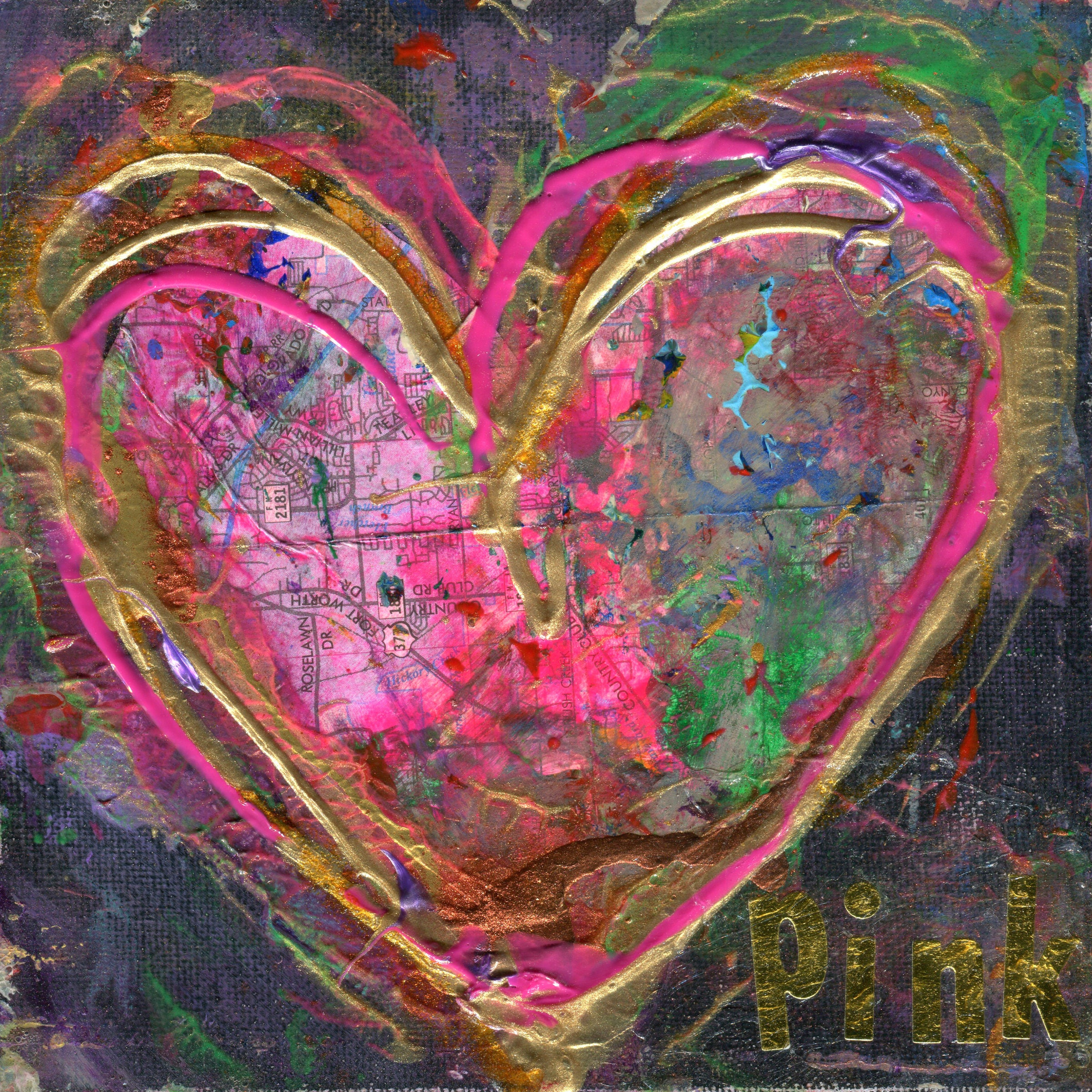 241 PINK Heart Painting Original Art Heart Painting on