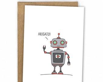 Thank You Card | Cute Robot Card ~ Arigato Roboto by Fresh Card Co