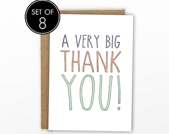 Cute Thank You Cards | Set of 8 | A Big Thank You by Cypress Card Co.