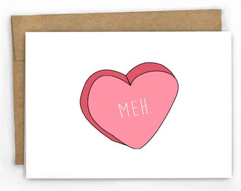 Funny Love Card | Funny Valentines Day Card ~ Meh by Cypress Card Co.