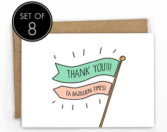 Cute Thank You Cards | Set of 8 | Thanks a Bajillion by Cypress Card Co.