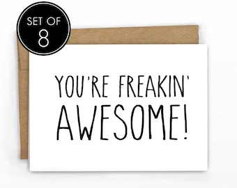 Funny Thank You Cards | Set of 8 | Freakin' Awesome! by Cypress Card Co.
