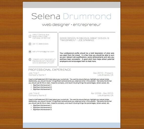 Lebenslauf Lebenslauf Und Bewerbungsschreiben Selena Etsy