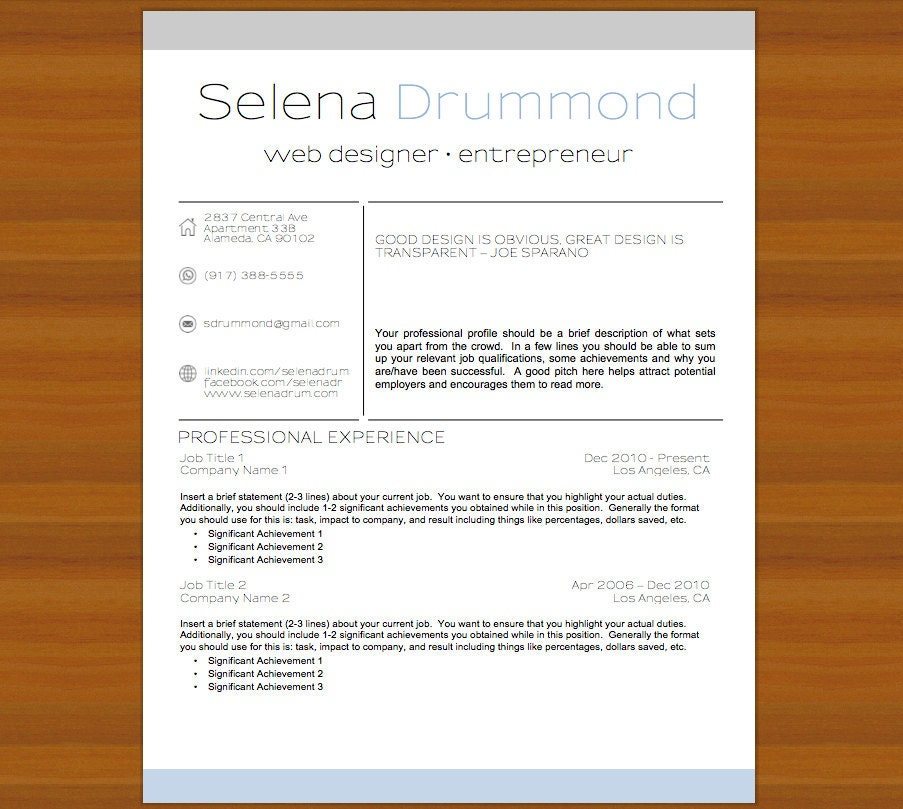 Florida Police Officer Resume Example: Resume / CV And Cover Letter The Selena Blue / Gray