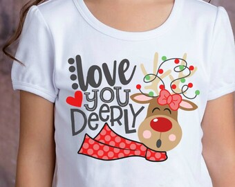 Christmas shirt- Girl's Christmas shirt- Reindeer shirt- Santa shirt- Holiday shirt- Rudolph- Santa Claus- Gift- Monogram Christmas shirt
