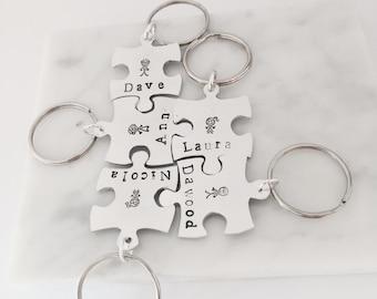 Jigsaw keyring - puzzle keyring- family keychain - personalised keyring -  name keyring - personalised keychain - personalized key chain - 154a66d302