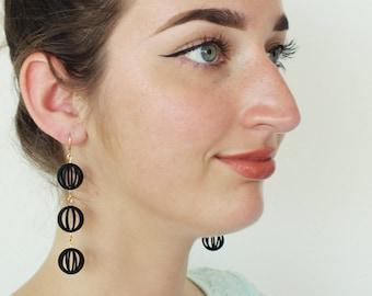 Bubbles | 3D printed earrings - black