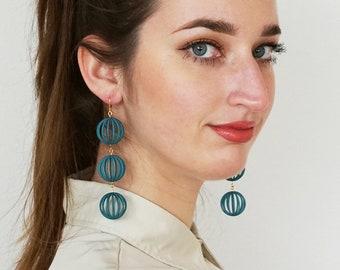 Big Bubbles | 3D printed earrings - teal green