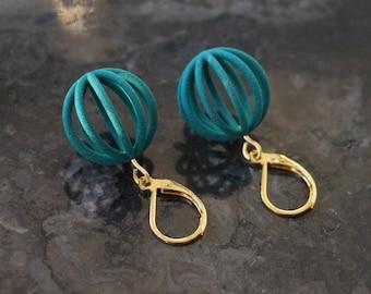 Mercury | 3D printed earrings - teal green