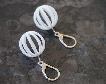 Mercury | 3D printed earrings - white