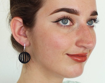 Venus | 3D printed earrings - black