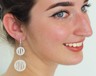 Snowman | 3D printed earrings - white
