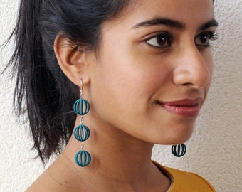 Bubbles | 3D printed earrings - teal green