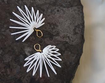 Leafy | 3D printed earrings - white