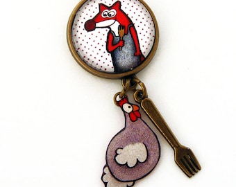 Fox and little chicken bag charm