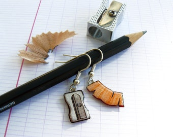 Earrings dangle, mismatched, sharpeners, peels of pencil, grey and Brown