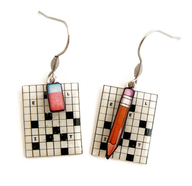 Eraser and pencil earrings crossword puzzles
