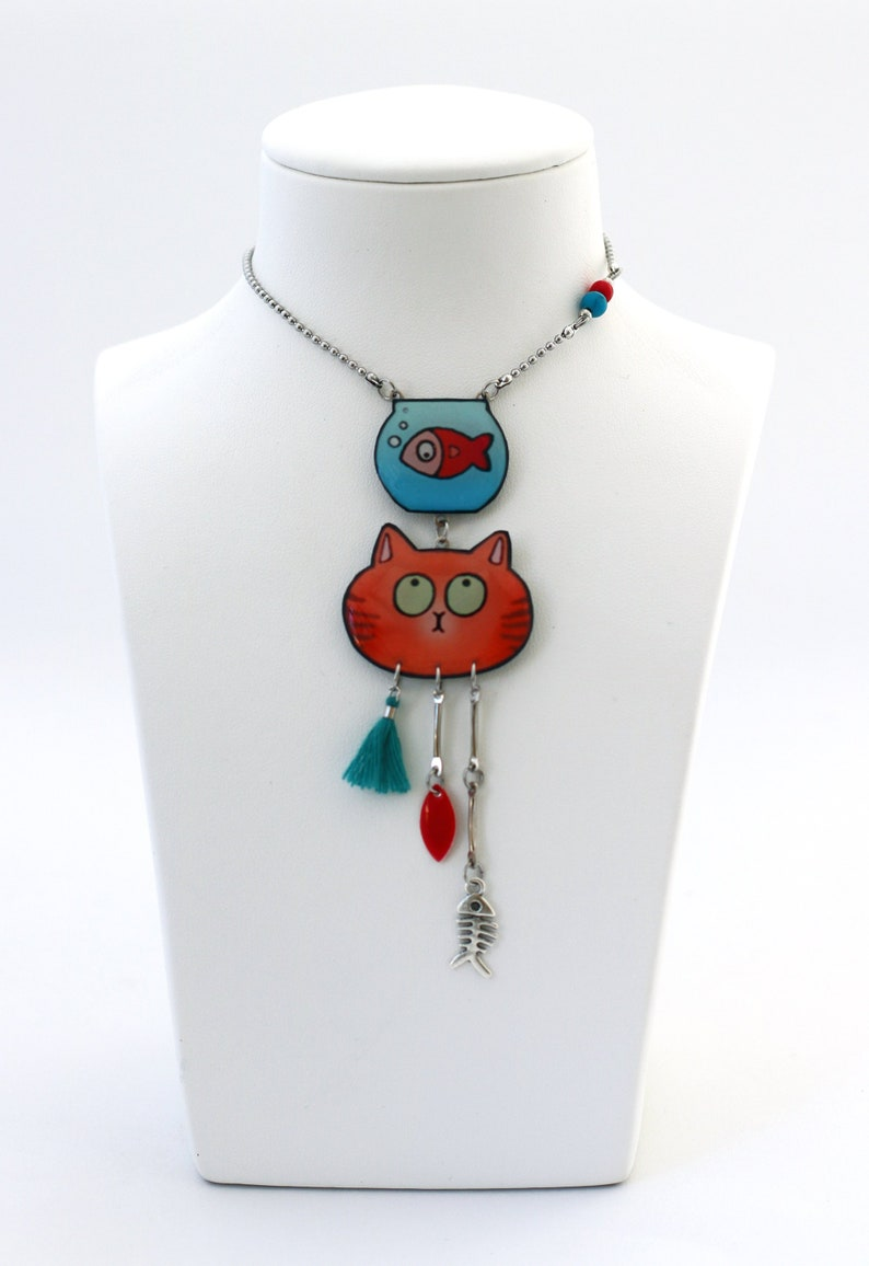 Pendant silver chain funny red cat goldfish in a jar blue image 0
