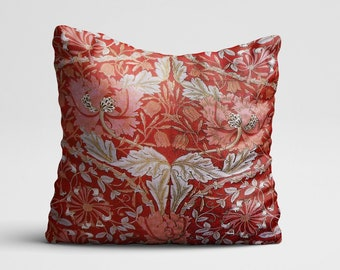 William Morris Print PillowCase Red Floral Pillow Cover Flower Pillow Throw  Pillow Cover Cushion Red Pattern PillowCase Silk Pillow Satin 41df727963