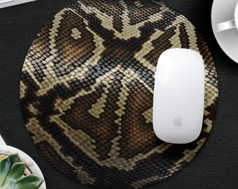32fa4b10008 Snake Skin Mouse Pad Animal Mouse Mat Desk Accessories Round MousePad  CoWorker Gift Snake Mouse Mat Computer Mouse Pad Decor Office Supplies